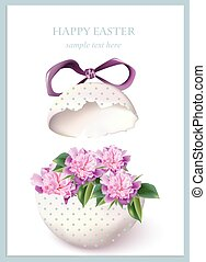 Happy Easter card with cracked egg and spring floral...