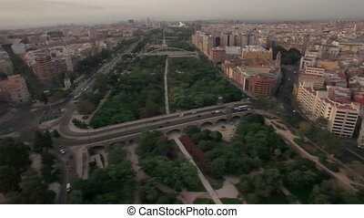 Aerial view of Valencia parks and city centre, Spain -...
