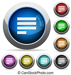 Text align justify last row left round glossy buttons - Text...