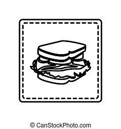 monochrome contour square and dotted line with sandwich icon...