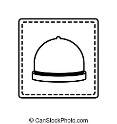 monochrome contour square and dotted line with cloche vector...