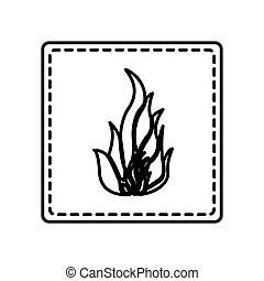 monochrome contour square and dotted line with flame icon...