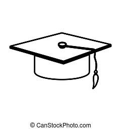 monochrome contour with graduation hat