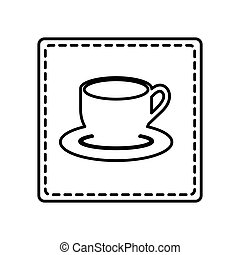 monochrome contour square and dotted line with coffee cup...
