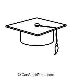 monochrome contour with graduation cap