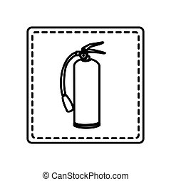 monochrome contour square and dotted line with extinguisher...