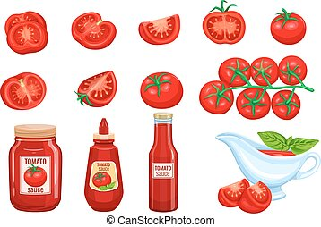 Set red tomato vegetables sauce and ketchup icon vector...