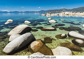 Lake Tahoe - Beautiful boulders and crystal clear water of...
