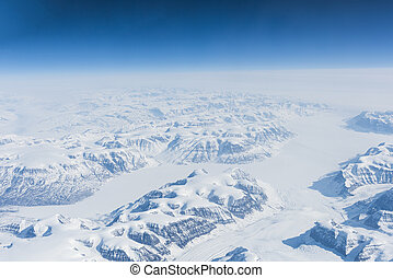 Greenland - View at Greenland frozen mountains from above