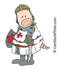 Crusader Pig - Illustration of a funny crusader pig