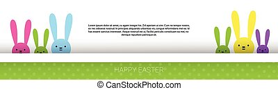 Rabbit Easter Holiday Bunny Symbols Greeting Card Vector...