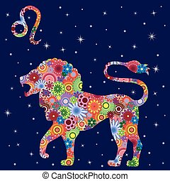 Zodiac sign Leo with flowers fill over starry sky