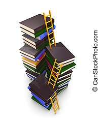 ladders and stacks of book - 3d render concept. ladders and...