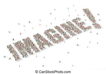 Large and diverse group of people gathered together in the shape of the word imagine