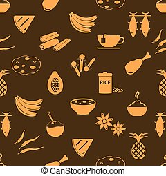 indian food theme set of simple icons seamless brown pattern...
