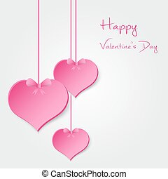 pink valentine hearths from paper hanging and happy...