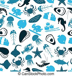 seafood and fish food theme icons blue seamless pattern...