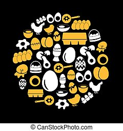 set of yellow and white egg theme icons in circle eps10 -...