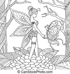 fairy with butterfly - Fairy girl playing with butterfly in...