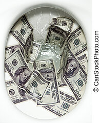 Flushing money - Flushing dollar bills into a toilet bowl