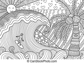 Man surfing - A man surfing on beautiful ocean for coloring...
