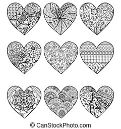 Nine hearts - Zendoodle stylized hearts for coloring book...