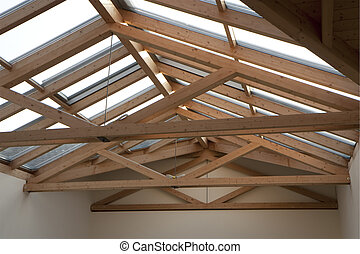 Roof frame - Wooden roof frame of a sunny atelier