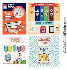 Digital vector image. Summer time orange infographic set,...