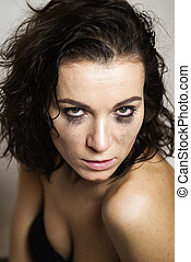 Horny girl with smudged make up - Horny woman with smudged...