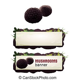 Set of mushroom vector banner, badge, sticker, icon with...
