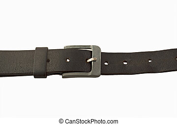 Belt - A black leather tied belt isolated over white