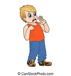 Vector Illustration little boy scared, face showing fear emotion. Boy in red T-shirt and denim pants.