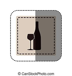 sticker monochrome square with bottle and glass of wine...