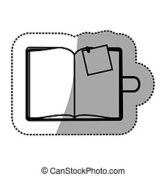 monochrome sticker with notepad and post vector illustration