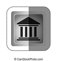 sticker grayscale square frame with parthenon icon vector...
