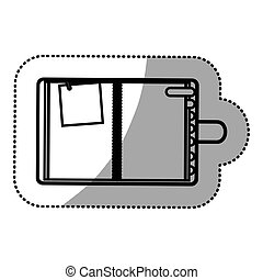 monochrome sticker with notepad and page tab