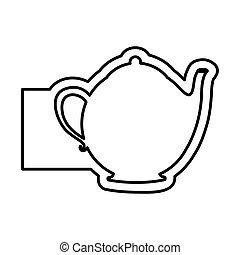 monochrome contour emblem with teapot of tea