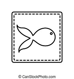 monochrome contour square and dotted line with fish icon...