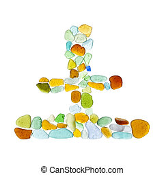 sea glass pieces - chinese characters made of sea glass, tu...