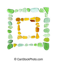 sea glass pieces - chinese characters made of sea glass, hui...