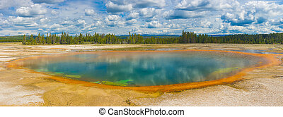 Hot spring - Beautiful hot spring. Yellowstone National...