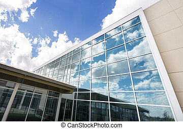 Modern Hospital Building With Glass Windows - Low angle view...