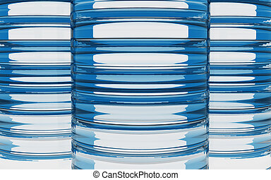 Cylinder glass material background by 3D rendering