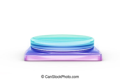 base of color glass stand for products display by 3D...