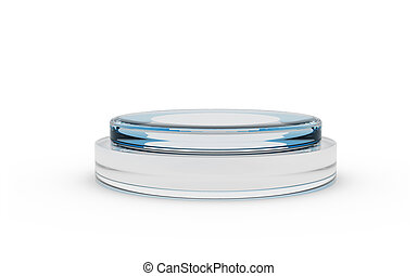 blue color of round glass stand for display by 3D rendering