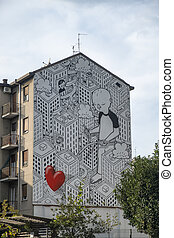 Milan (Italy): mural painting - Milan (Lombardy, Italy): a...