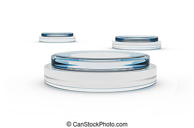 round glass stands for display by 3D rendering