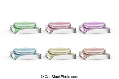 six of glass stands for products display by 3D rendering