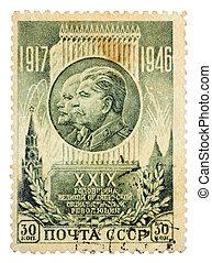 Revoluciones, vladimir, Lenin, 1946:, estampilla, -, 1946,...