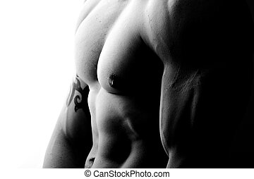 muscular male chest - high contrast side-view in black and...